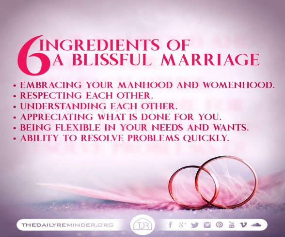 6 Ingredients of a blissful marriage