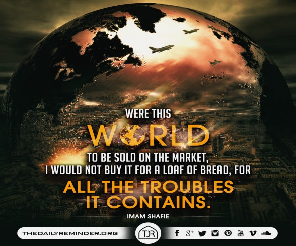 Were this world to be sold on the market, I would not buy it for a loaf of bread, for all the troubles it contains.  ~ Imam Shafie