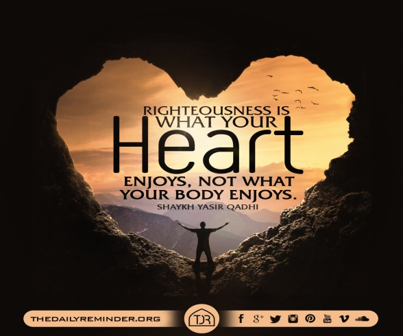 Righteousness is what your heart enjoys, not what your body enjoys.  ~ Shaykh Dr. Yasir Qadhi